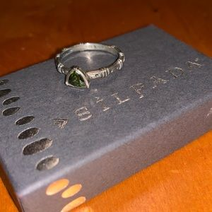 Silpada silver Belle Fleur & green stack ring  7